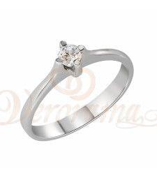 Μονόπετρo δαχτυλίδι Κ18 λευκόχρυσο με διαμάντι κοπής brilliant - MBR_017