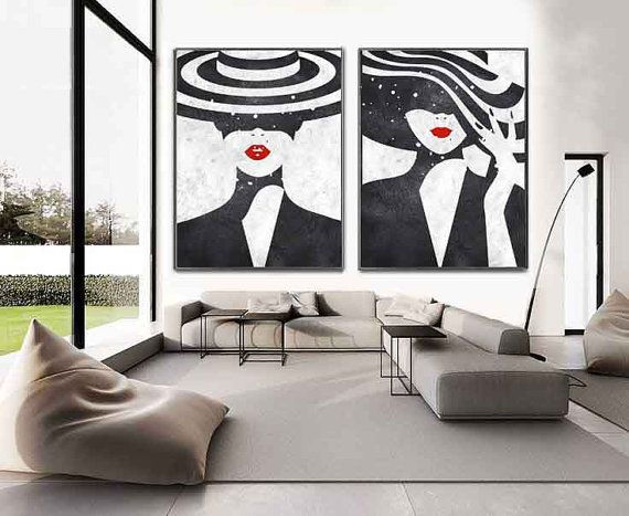 Set Of 2 Extra Large Acrylic Painting On Canvas, Pop Art Canvas Painting, Illustration Art, Lady With Hat, HANDMADE.