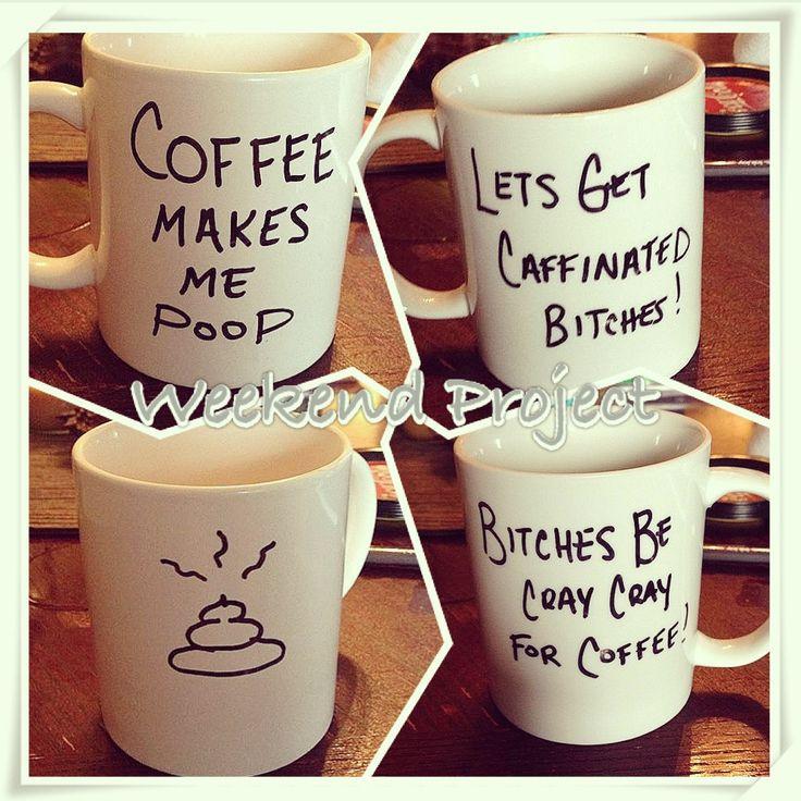 Sharpie Written Messages On Plain Coffee Cups Bake 350