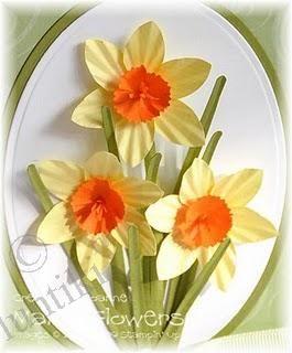 Нарциссы - открытка для мамы своими руками на 8 марта, поделки из бумаги