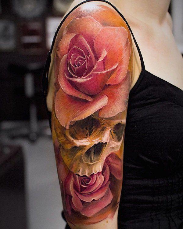 3D Rose und Schädel Ärmel Tattoo – 70+ Amazing 3D Tattoo Designs ♥ ♥