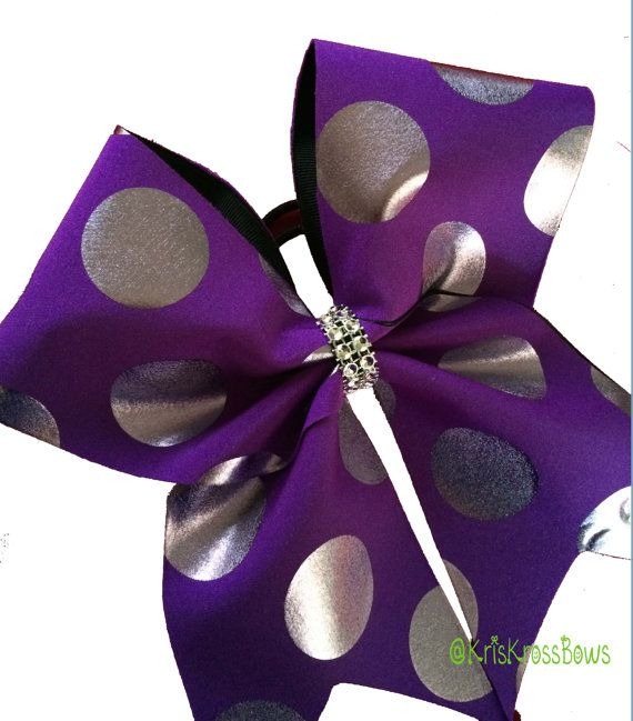 Purple with Bronze Metallic Polka Dots Cheer Bow by KrisKrossBows