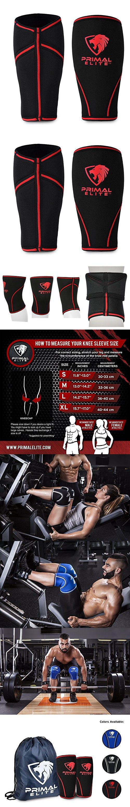 Knee Sleeves ( 1 Pair w/ bag ) Best Orthopedic Knee Support & Pain Compression Brace for Squats, Crossfit WOD, Weightlifting, Powerlifting - Primal Elite 7mm Strong Knee Sleeves - For Men & Women