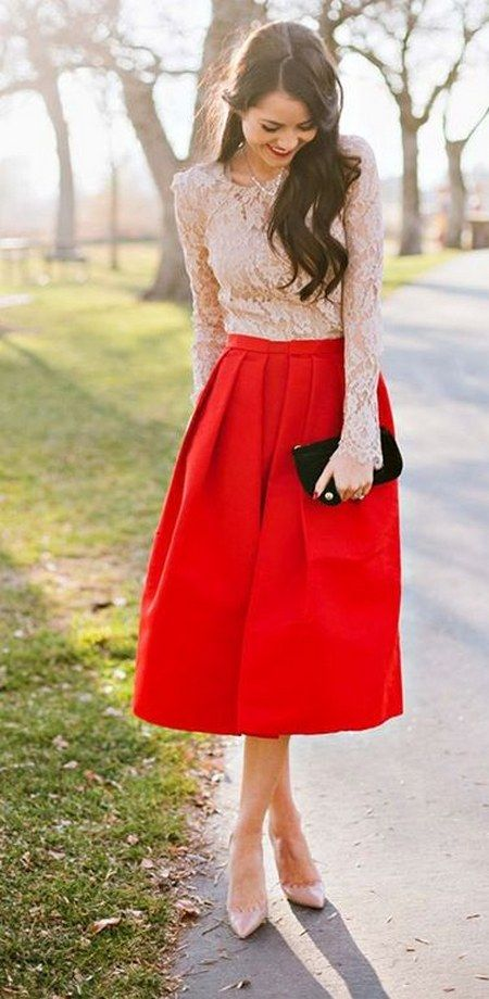 pink lace and red dress / http://www.himisspuff.com/wedding-guest-dress-ideas/2/