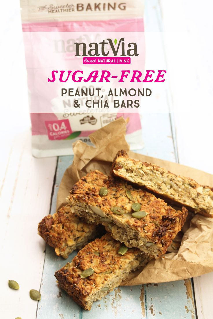 Looking for a healthy treat to keep your energy levels high throughout the day? Try your hands at this quick to make #Peanut, #Almond, and #Chia Bars! They fit nicely into any #lunchbox and are #sugarfree, what's better than that!  - Ingredients - 2 ½ cups rolled oats 1 -2 tbs #Natvia ½ cup desiccated coconut 1/4 cup pepitas 2 tbs chia seeds  CLICK FOR FULL RECIPE