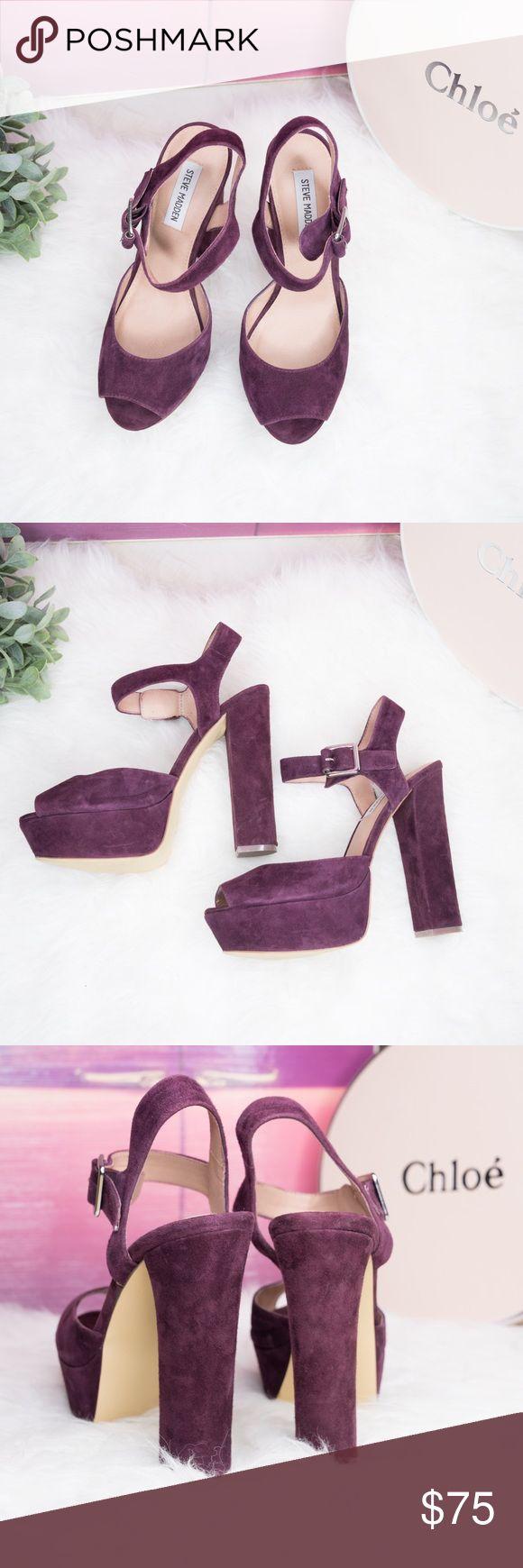 Final sale! Steve Madden Purple Heels Size 8.5 Steve Madden Jillyy Purple Platform Heeled Sandals. Size 8.5. Leather upper. These heel sandals are in brand new condition. Steve Madden Shoes Heels
