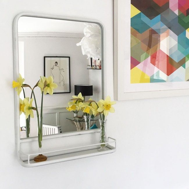 White Framed Carriage Mirror with Shelf IN STOCK