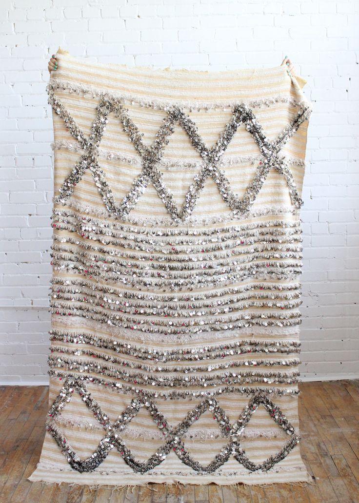 Vintage Handira wedding blanket with metallic sequins, Baba Souk