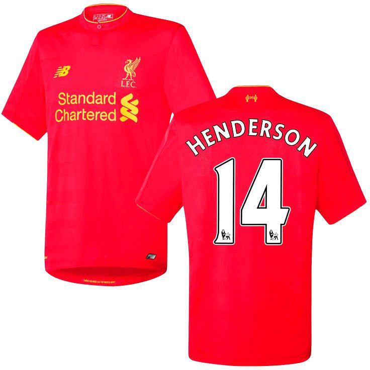 Jordan Henderson Liverpool FC New Balance 2016 Replica Home Jersey - Red - $99.99