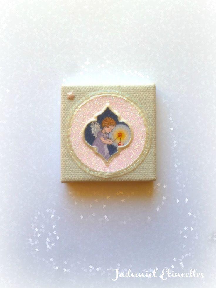 """* Noël * Toile miniature décorative série """" Sainte Nuit ... """" n°78 : Accessoires de maison par jademiel-etincelles"""