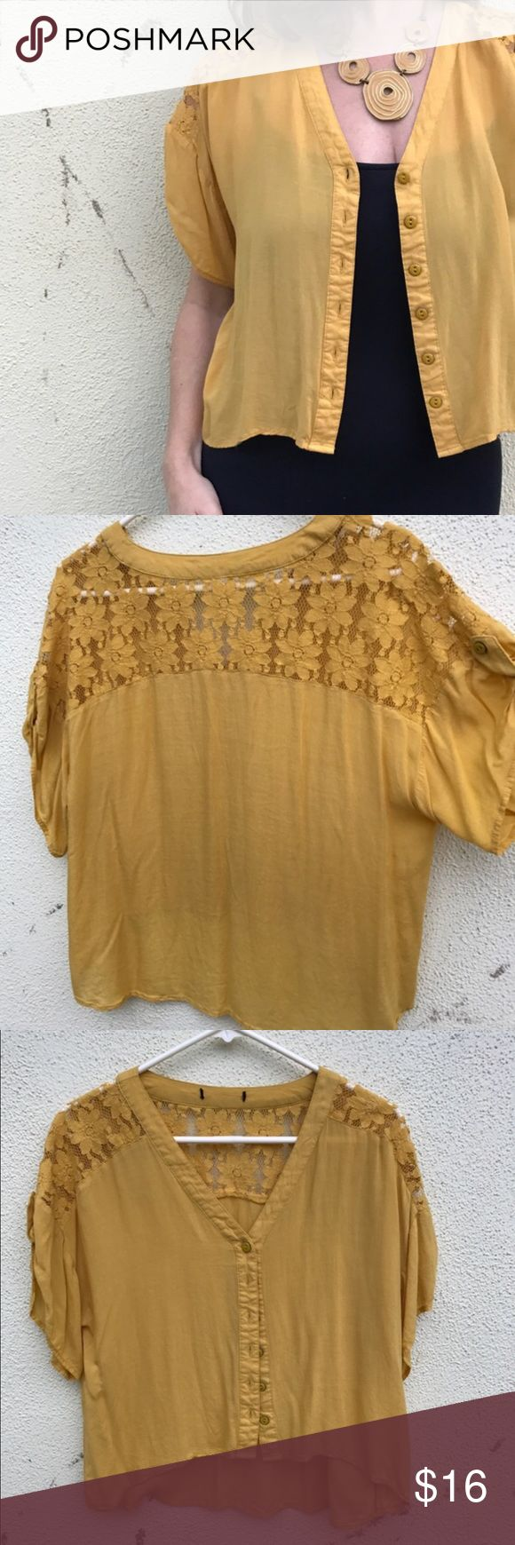 Mustard yellow top blouse Sz L loose LACE boho Flowy and sweet,  this v NECK button down top can be worn as an over shirt or a easy throw-on blouse. LACE detailing on shoulder and upper back, 3/4 draped sleeves and nice length. (N8) Anthropologie Tops Blouses