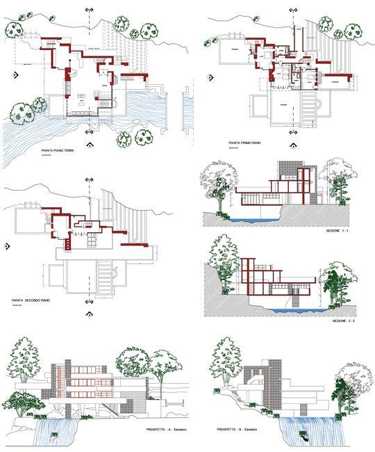 casa sulla cascata  Frank Lloyd Wright 2D dwg  FLlW