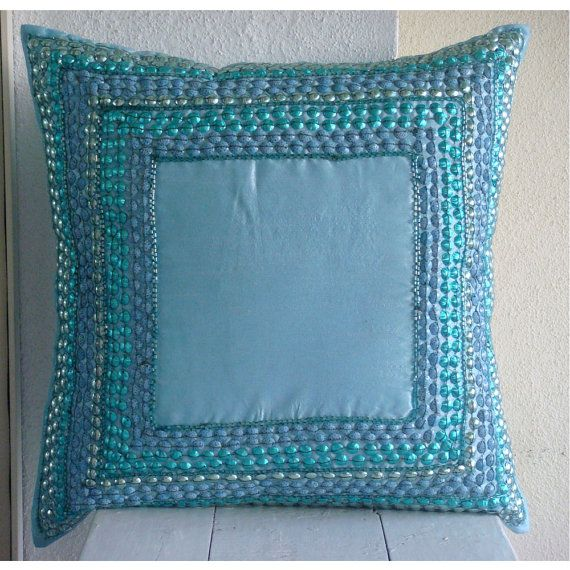 Blue Celebrations - Pillow Sham Covers - 24x24 Inches Silk Dupion Pillow Sham Cover with 3D Sequins