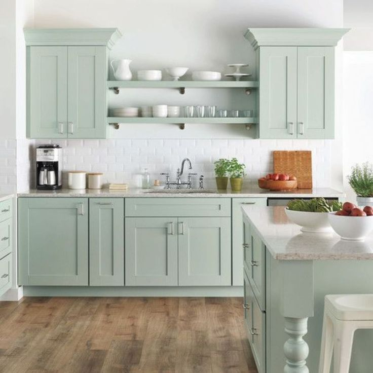 Robins Egg Blue Kitchen Ideas (028) (With images) | Green ...