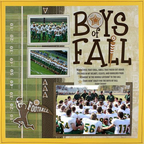 Boys of Fall Football Traditional Tuesday Scrapbook Layout Project Idea