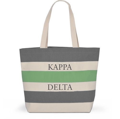 Kappa Delta Sorority Tote with Stripes - Brothers and Sisters' Greek Store
