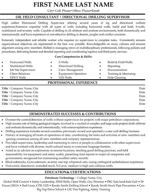 Oilfield Resume Templates: Oil Field Consultant Resume Sample Amp Template