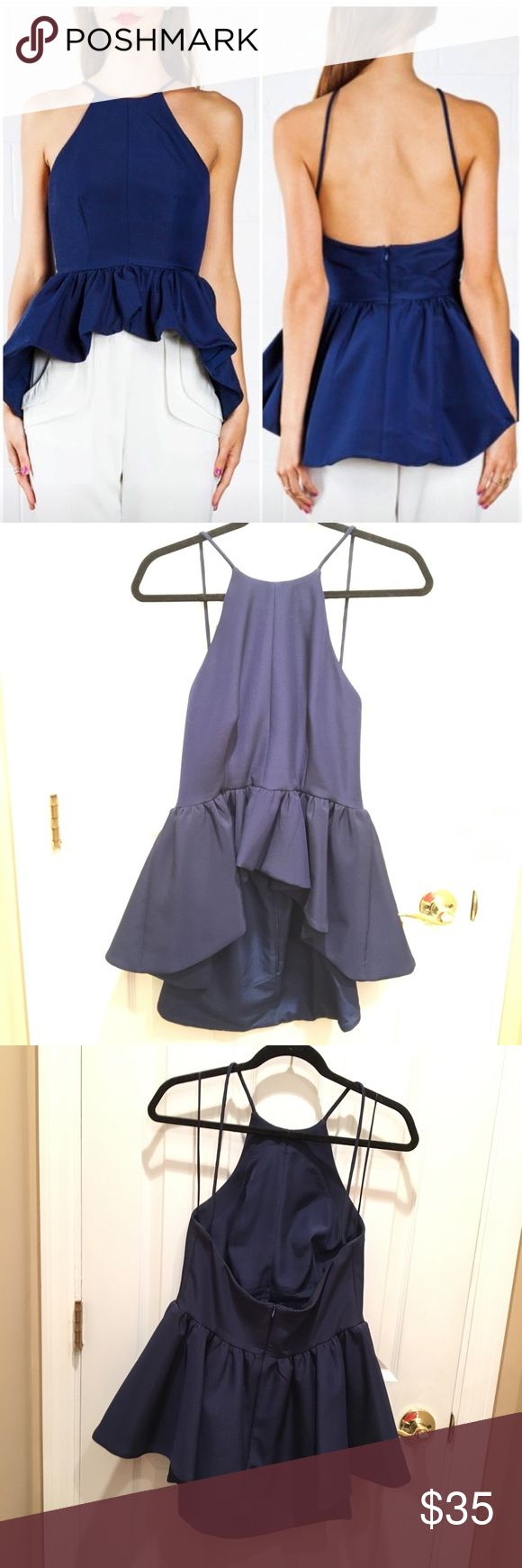 🎁FLASH SALE🎁CAMEO THE LABEL navy peplum top EUC Perfect condition Cameo AUS FASHION LABELS peplum top. Shorter in front longer in back, large peplum and open back. Just beautiful. Runs small. Worn maybe four times. Also have a dress that is the same style in my closet check it out! C/MEO Collective Tops Crop Tops