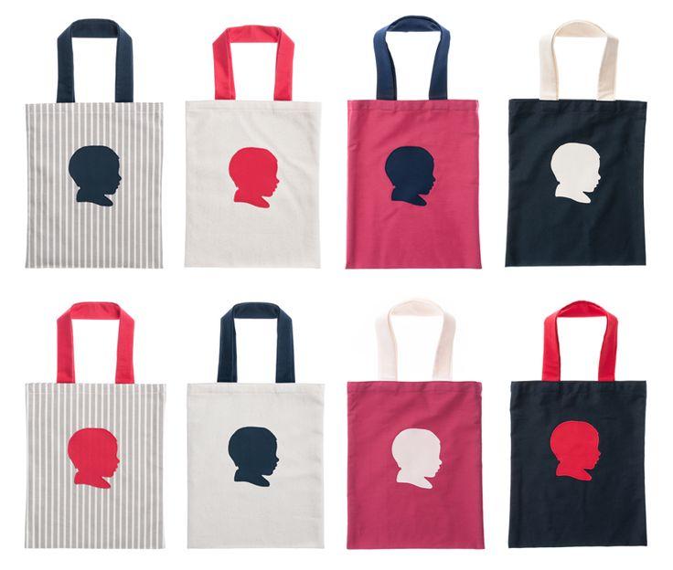 Das eigene Kopfprofil auf handgemachten Produkten: personalisierte Kindertasche aus 100% Bio-Baumwolle