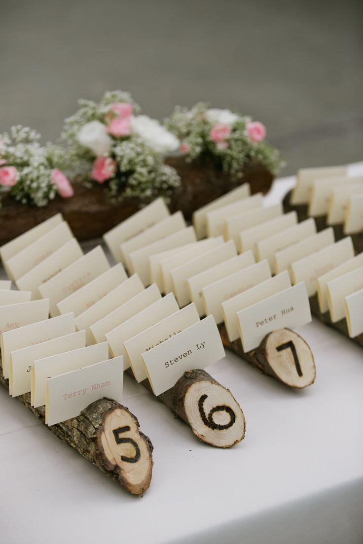 #escort-cards Photography: Jasmine Lee Photography - www.jasmineleephotography.com/ Read More: http://www.stylemepretty.com/little-black-book-blog/2014/09/22/rustic-diy-oakland-wedding/