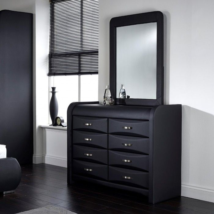 Faux Leather Dresser, Fully Assembled With Option Of Attachable Mirror.  Item Dimensions: Dresser: H: 86 Cm W: 115 Cm D: 43 Cm Mirror: Cm, W: 71 Cm  SKU :