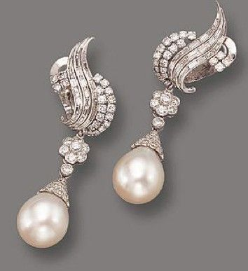 PAIR OF CULTURED PEARL AND DIAMOND PENDANT-EA RRINGS, CIRCA 1950..love the vintage look of these earrings, and Pearl is my birthstone. These are so amazing!