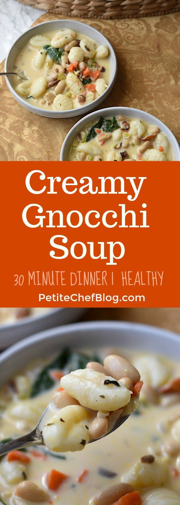Creamy Gnocchi and Vegetable Soup Recipe | Ready in just 20 minutes! | Easy dinner recipe | PETITECHEFBLOG.COM