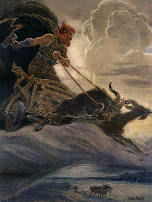 God Thor and his chariot pulled by goats Tanngrisnir and Tanngnjóstr (the Teeth-barer, Snarler and the Teeth Grinder)