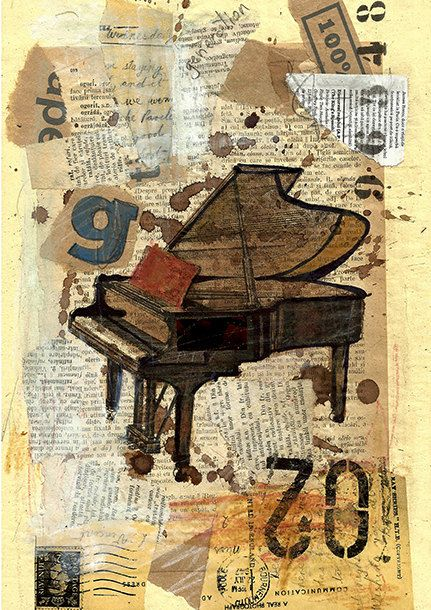 Fine Art canvas print Christmas gift Autographed Mixed Media Abstract collage painting PIANO Music Gallery Emanuel Ologeano Limited edition