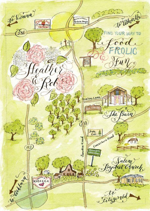 Watercolor Wedding Map DIY, print at home or order prints