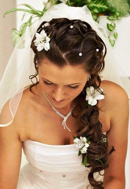 Bride's long side diamond braid flowers pearls bridal hair ...