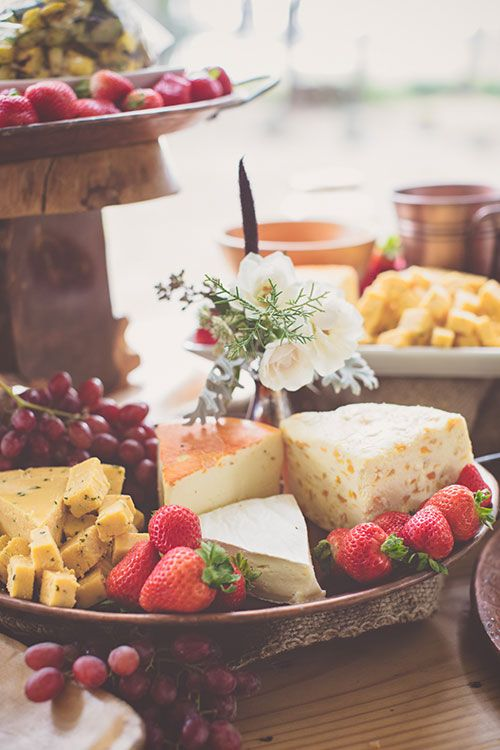Bohemian-Chic Wedding in South Carolina, Cheese and Fruit Assortment   Brides.com
