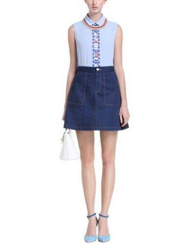 Blue Denim High Waist Button Front Skirt SK0160002
