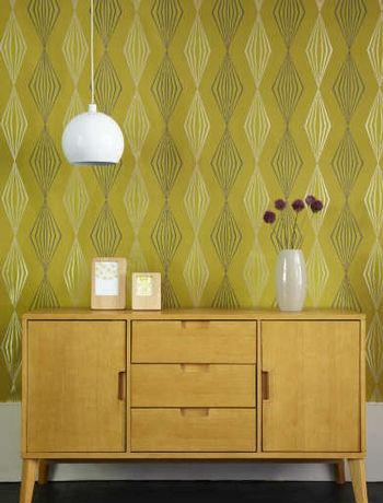 Groovy geometrics Yellow was an inspiring colour during the fifties particularly shades of ochre and acid yellow - if you love vintage style make sure you invest in some geometric style wallpaper to go with your retro furniture!