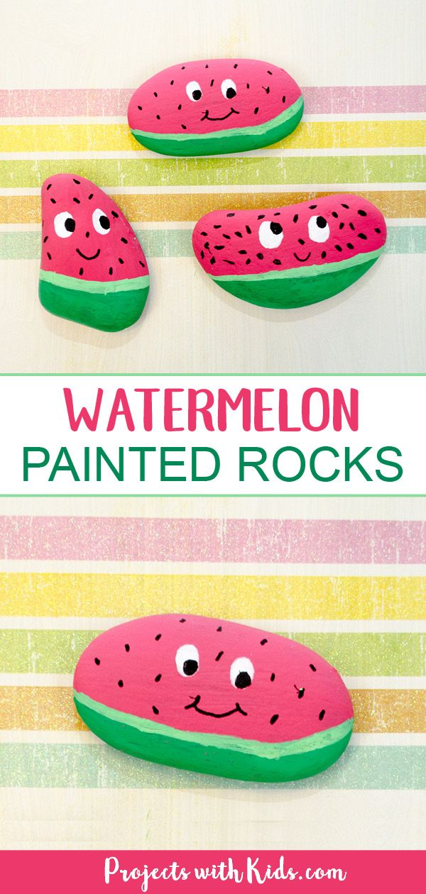 The Cutest Watermelon Painted Rocks for Kids to Make