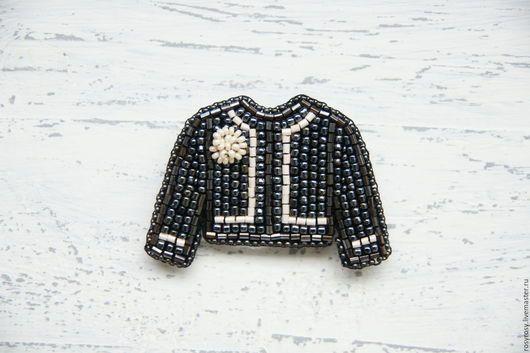 Броши ручной работы. Ярмарка Мастеров - ручная работа. Купить Жакет Брошь Брошка из бисера 'Jacket For A Lady' (black).. Handmade.