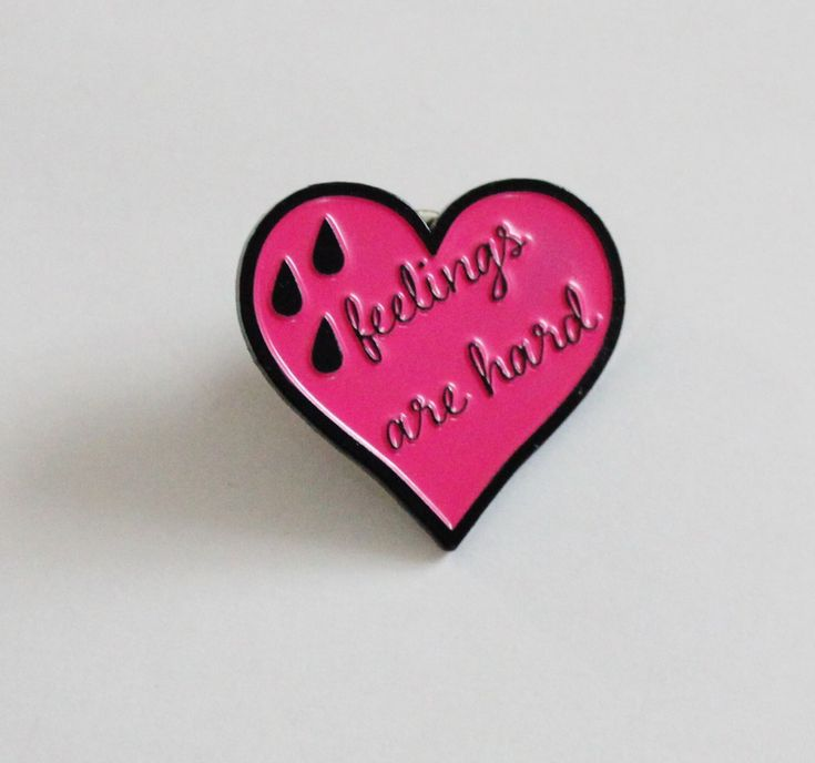 """Feelings are Hard Pink and Black Heart Lapel Pin - 1.25"""" soft enamel, funny, sarcastic gift by TheSilverSpider on Etsy https://www.etsy.com/listing/285410493/feelings-are-hard-pink-and-black-heart"""