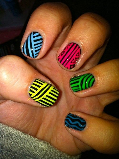 neon nail polish | TumblrNails Art, Nails Design, Colors, Nailsart, Tribal Nails, Nails Polish, Neon Nails, Stripes, Tribal Prints