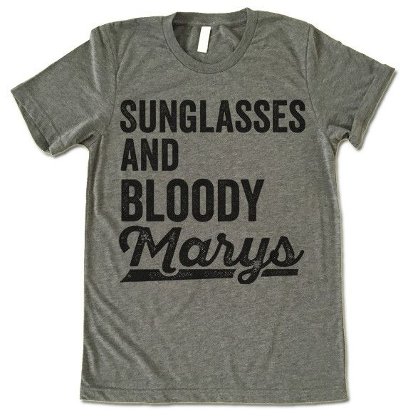 The listing is for one short-sleeve UNISEX crewneck t-shirt with 'Sunglasses and Bloody Marys' design. Please refer to the size chart below (laying flat measurements in inches) if you want to measure