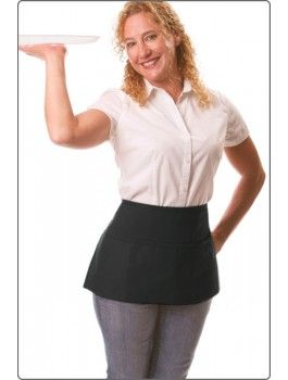 """Reversible Waist Apron, available in black. Features three divisional pouch pockets (on both sides of the apron). Size: 11"""" L X 23"""" W."""