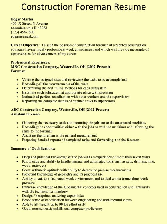 construction foreman resume example    resumesdesign