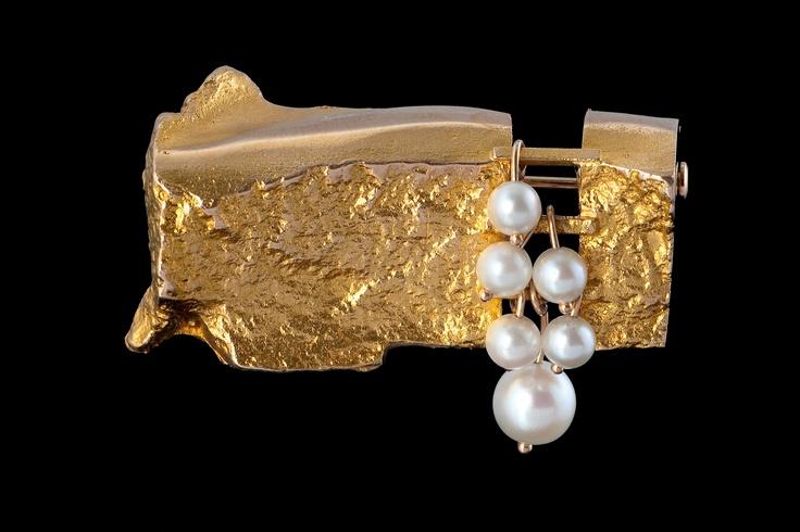 BJÖRN WECKSTRÖM brooch, 14K gold, 1966