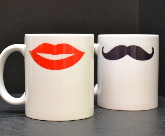 HIS AND HERS Coffee Mugs  Mustache and Hot Lips by DailyGrinder, $28.00
