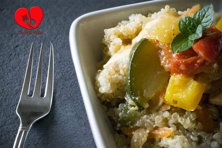 Quinoa con zucchine e peperoni.