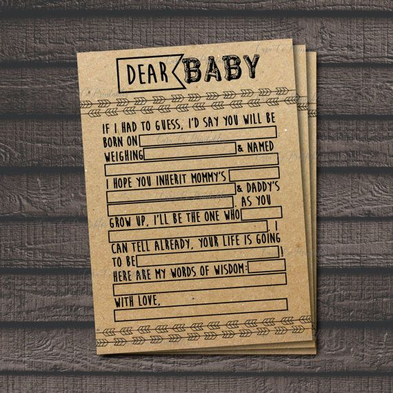 Baby Shower MadLibs Printable Game Woodland Animal theme, Forest Creatures, Rustic Theme by CaraCoPrintables