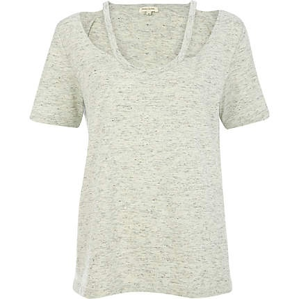 **PURCHASED** Light grey marl cut out shoulder t-shirt