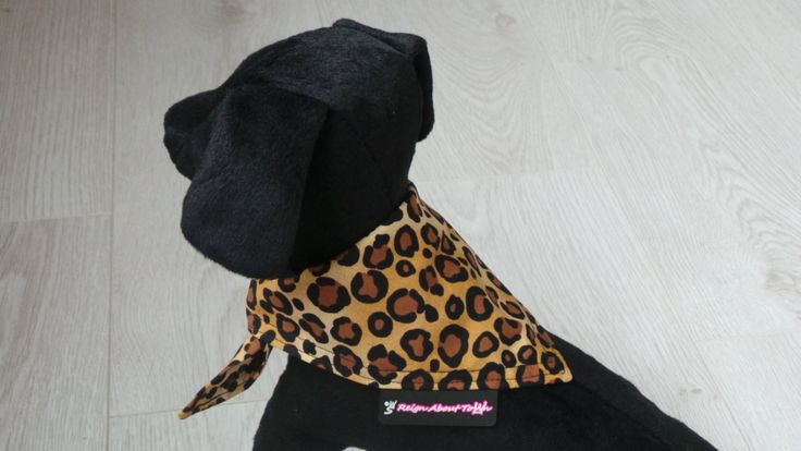 Leopard Print 100% Cotton Dog Bandana. Reign About Town pet neckwear. Brown and Black. by ReignAboutTown on Etsy