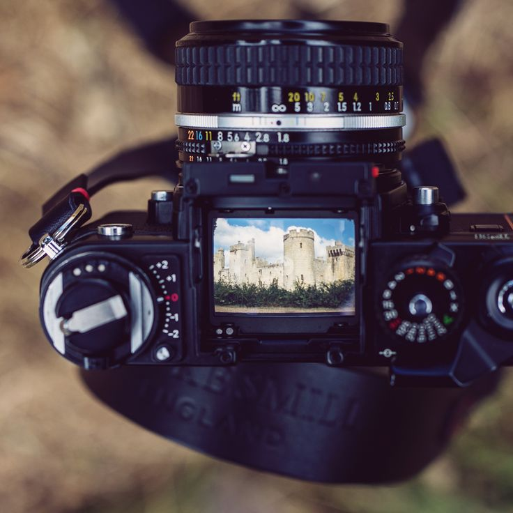 Our black handmade leather camera neck strap and Nikon F3 at Bodium Castle, East Sussex.