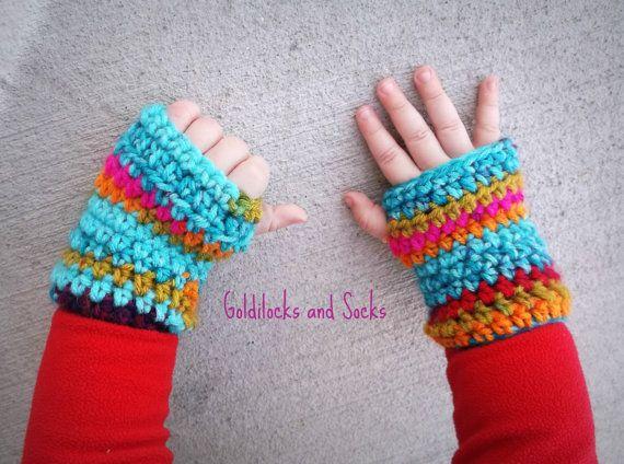 Rainbow girl gloves tie dye gloves by GoldilocksandSocks on Etsy