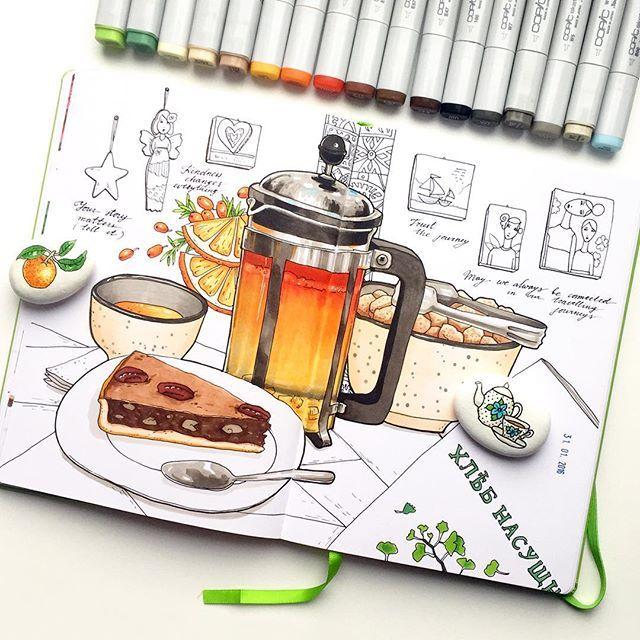 """Воскресная кафешная зарисовка из цикла """"Пока не нарисую, не съем"""", полностью без карандаша, поэтому местами кривовато  #скетч #скетчбук #sketch #sketching #sketchbook #sketch_daily #leuchtturm1917 #copic #copicmarkers #v0lha_sketch"""